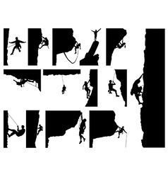 Rock climber silhouettes vector