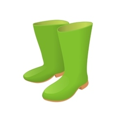 Rubber green boots icon cartoon style vector image