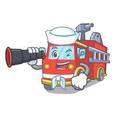 Sailor with binocular fire truck mascot cartoon vector