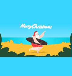 santa claus on beach holding surfboard vector image
