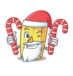 Santa with candy tamale with corn leaf in cartoon vector