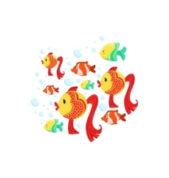 Schoold Of Fantastic Tropical Fishes Goldfishes vector