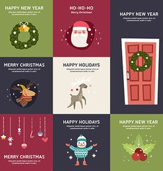 Set of flat design christmas and new year vector