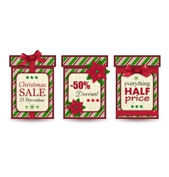 Set of three vintage christmas sale labels vector