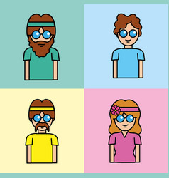 Set people hippie with hairstyle and glasses vector
