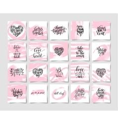 Set pink grunge happy valentines day vector