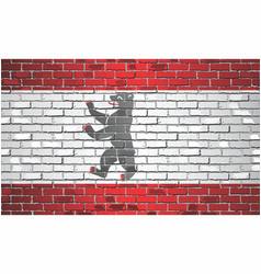 Shiny flag berlin on a brick wall vector