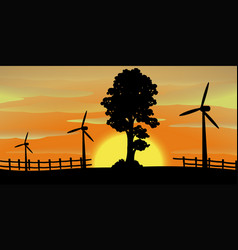 silhouette scene with wind turbines in the field vector image