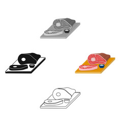 Sliced meat on cutting board icon in cartoon vector