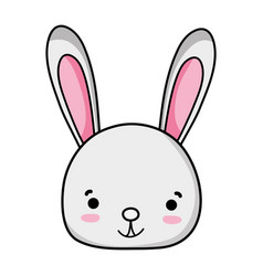 Smile rabbit head wild animal vector
