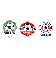 soccer football league logo templates set sports vector image