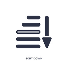 Sort down icon on white background simple element vector