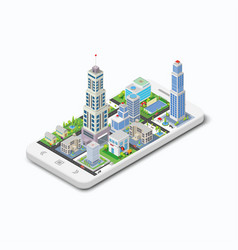 Three-dimensional building on a white phone vector