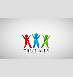 Three kids logo design vector