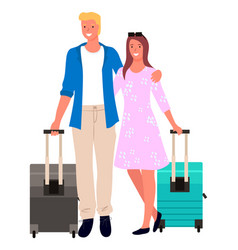 tourism or traveling couple and suitcases flight vector image