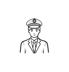 Train conductor hand drawn outline doodle icon vector
