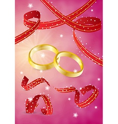 Two gold rings and ribbons vector