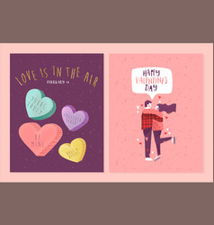 Valentines day candy heart and couple card set vector