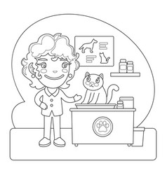 vet coloring page vector image