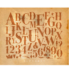 Vintage gothic alphabet craft vector