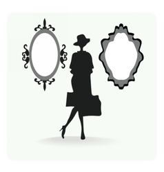 Vintage silhouette of a woman vector image vector image