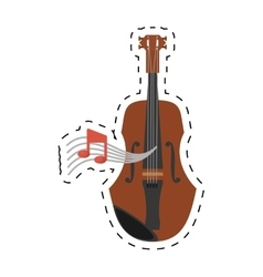 Wooden fiddle instrument note music dotted line vector