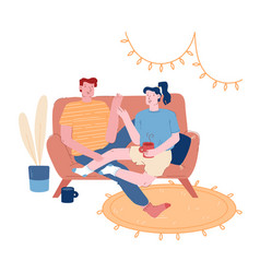Young loving couple sitting on couch in living vector