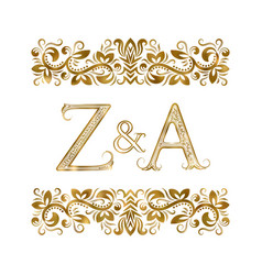 Z and a initials vintage logo letters vector