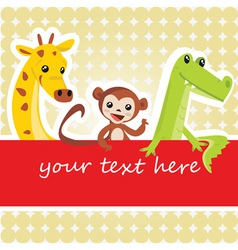 Cartoon animal card vector image vector image
