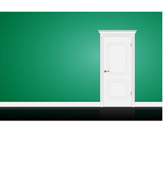 Closed white door on green wall vector image vector image