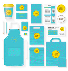 coffee shop identity template set turquoise color vector image