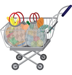 Grocery store shopping cart with full bags vector image