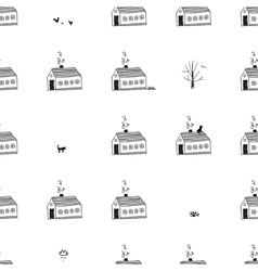 houses seamless pattern with street life vector image