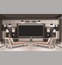 modern home cinema interior 3d design vector image