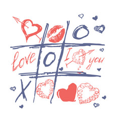 tic tac toe valentines day love background vector image vector image