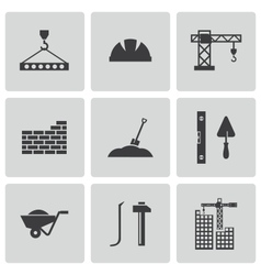 black construction icons set vector image vector image