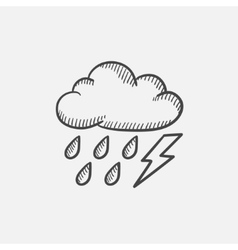 Cloud with rain and lightning bolt sketch icon vector image vector image