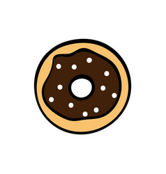 cute chocolate donut on white background vector image