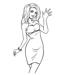 elegant woman in evening dress vector image