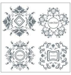 Set decorative floral ornament logo vector image