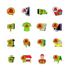 Advertisement set icons set cartoon vector