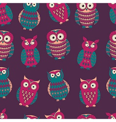 colorful seamless pattern with cute different owls vector image