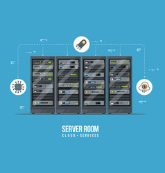 data center and server room data storage and vector image