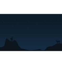 Deer on the cliff Christmas landscape vector image
