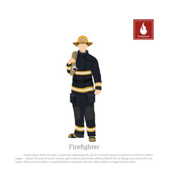 firefighter with an fire hose white background vector image