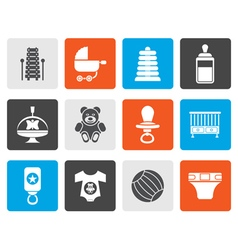 Flat Child Baby and Baby Online Shop Icons vector image vector image