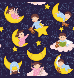 seamless pattern with babies on the moon vector image