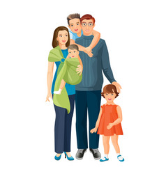 big family mother father baby boy toddler girl vector image vector image