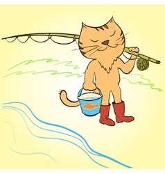 Cat goes fishing with a fishing rod and a bucket vector