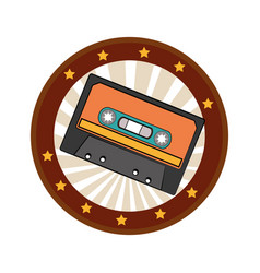 color circular frame with cassette tape vector image